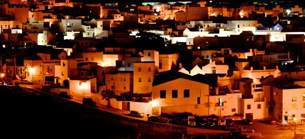 Village at night near the a frame surfcamp andalusia