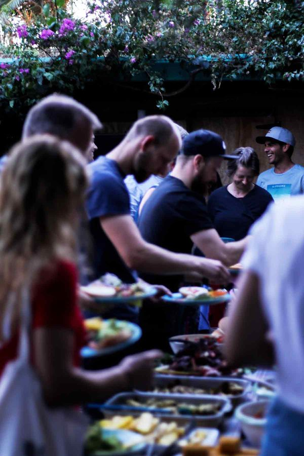 Gigantic buffet at Aframe Surfcamp in Spain
