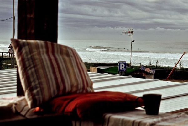 Amazing view from the terrace to the waves at A Frame Surfcamp