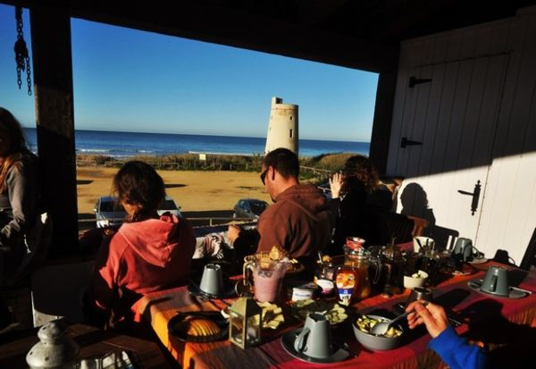 Enjoy breakfast with sea view at A Frame Surfcamp