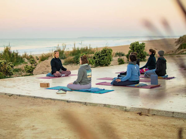 Yoga in El Palmar near Cadiz at the beach