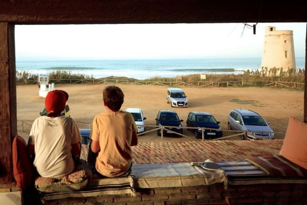 Children having breakfast on the A Frame Surfcamp terrace