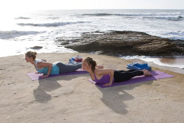 Cobra Asana on the beach with Yoga El Palmar
