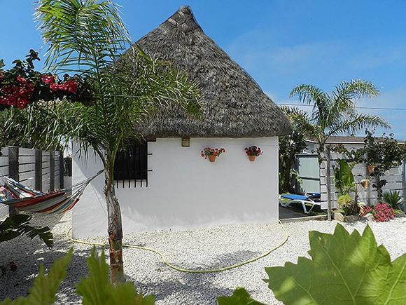Bright and cosy El Palmar accommodation with garden and thatched roof