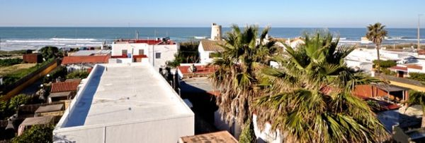 The view from the back terrace of the A Frame Surfcamp to El Palmar