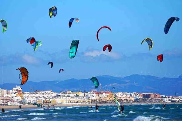 Tarifa is a great destination from A Frame Surfcamp Andalusia and is popular with kitesurfers.